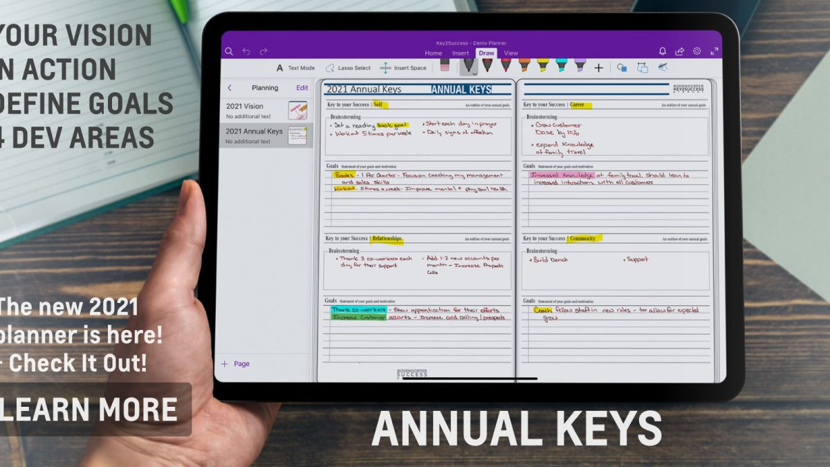 Annual Keys Page in OneNote